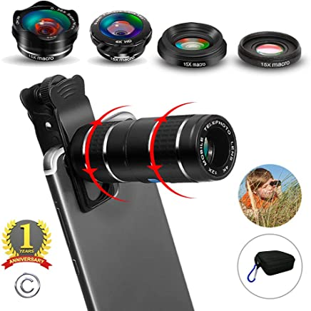 Phone Camera Lens,5 in 1 Cell Phone Lens Kit - 12x...