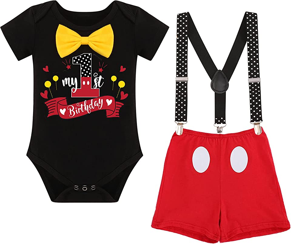 Baby Boys First Half Birthday Cake Smash Outfit Bowtie Romper Suspenders Shorts 3PCS Fancy Dress up Costume for Photo Prop