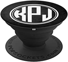 KPJ Monogram Gift Initials KPJ or KJP on Black PopSockets Grip and Stand for Phones and Tablets