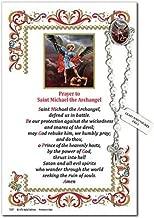 5 7//8 Inch Needzo Saint Michael One Decade Rosary Lapel Pin on Keepsake Prayer Card