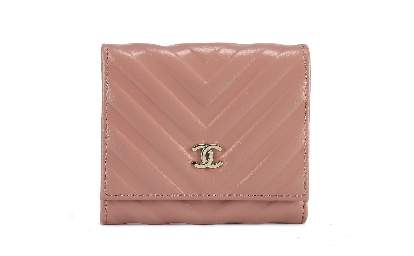 バレーボールレディフィード三つ折短財布 手持ち財布 ウォレット レザー財布 ゴルード金具 スナップ開閉式 ピンク