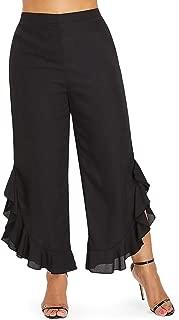 Women's Pants Fashion High Waist Ruffle Wide Leg Capri Pants Women Black Flare Pants