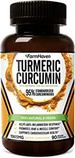 Turmeric Curcumin with BioPerine Black Pepper & 95% Curcuminoids, 1965mg, Maximum Absorption for Joint Support & Healthy I...