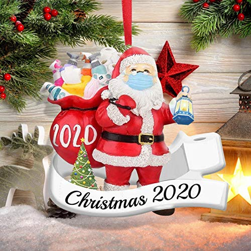 Quarantine Christmas Ornaments, 2020 Santa with Mask Ornaments Santa Claus Wearing Face Mask Christmas Tree Decorations, Xmas Tree Hanging Decor Santa Keepsake (1PC)