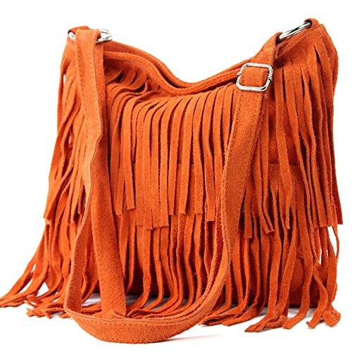modamoda de - T125 - ital Schultertasche Fransen Wildleder, Farbe:Orange