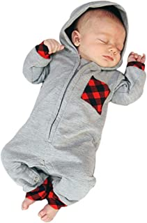 SRYSHKR Newborn Infant Baby Boy Girl Plaid Hooded Romper Jumpsuit Outfits Clothes