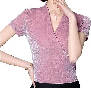 Howme-Women Regular Fit Short-Sleeve Knit Cotton Dressy Tunic Tops
