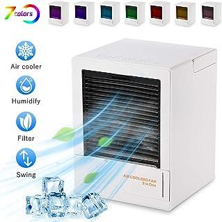 Huahua Mini Aire Acondicionado MóVil,Silencioso USB Escritorio Ventilador,Sacudiendo AutomáTico De 90 °/Luces De 7 Colores/3 Velocidades/Toque El BotóN/450 Ml Tanque De Agua