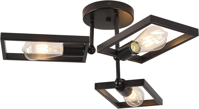 Semi-Flush Mount Award Ceiling Light Industrial overseas Fixture Black 3-Light