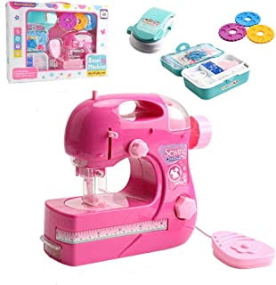 ZIJIAGE Kids Toy Mini Portable Hand-Held Clothes Sewing Machine Home Travel Electric DIY Toy for Girls Boys,B