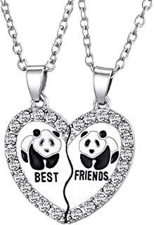 HooAMI Best Friends Necklaces Rhinestone Panda Animal Split Heart Pendant BFF Necklace 2pcs