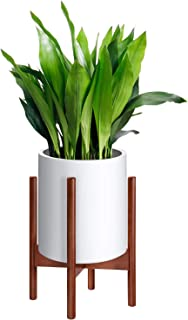 MoonLa Plant Stand Mid Century Wood Flower Pot Holder Display Potted Plant Holder Rack Rustic Planter Stand Up to 10 Inch (Plant and Pot NOT Included), Brown