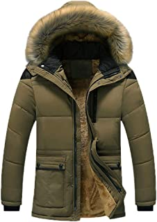 RONSHIN Men Winter Warm Thick Plush Collar Hooded Fleece Lined Outerwear Jacket Coat