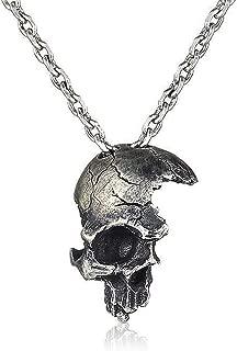 YOOE Punk 18K Gold Broken Skull Necklace. Gothic Half Skull Souls Necklace, Horror Ghost Pendant for Men Women Halloween Necklaces