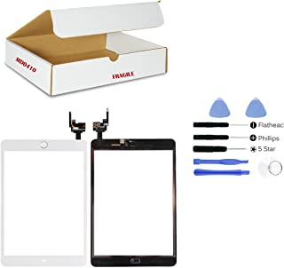 (md0410) White Digitizer Glass Lens Touch Screen Full Complete Assembly with IC Chip Replacement Compatible Ipad Mini 3 A1599 A1600 (Camera Holder, Adhesive, Silver Home Button Flex Included) & Tool