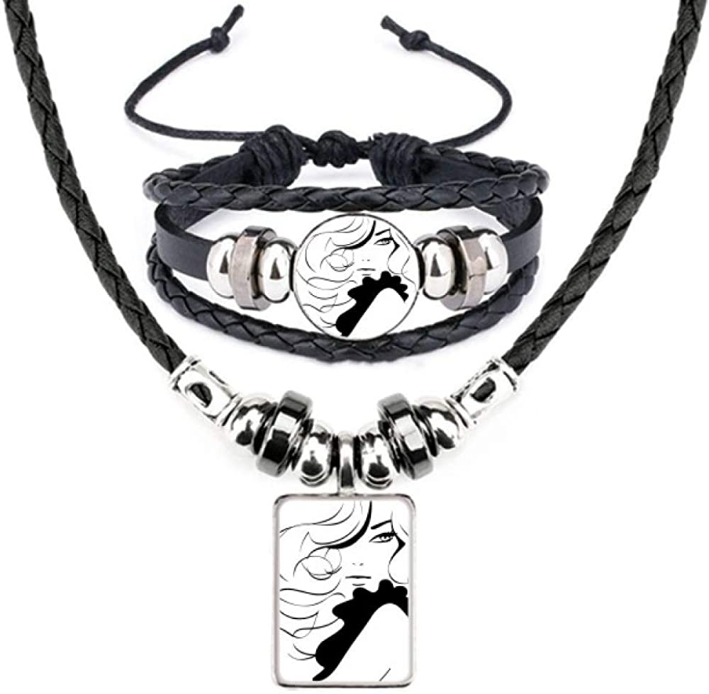 Girl Long Hair Lady Silhouette Leather Necklace Bracelet Jewelry Set