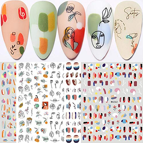Graffiti Fun Nail Art Stickers, Abstract Nail Decals 3D Self-Adhesive Abstract Lady Face Rose Leaf Nail Design Manicure Tips Nail Decoration for Women Girls Kids(6Sheets)