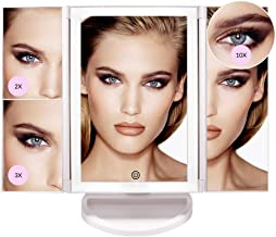 Makeup Mirror with Lights - Various Lighting Modes, 36 LED Trifold Mirror, Touch Control Design with Dimming, 1x/2x/3x/10x Magnifying, 180 degrees adjustable rotation, portable for travel High Definition Cosmetic Lighted Up Mirror - by Rvival