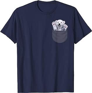 T-Shirt - Cute Polar Bear Waving from Pocket