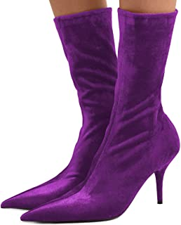 890246f671 FSJ Women Pointed Toe Thin High Heels Sock Boots Mid Calf Party Prom Velvet  Dress Booties