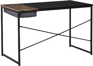 HOMCOM Bureau Design Industriel Rangement intégré châssis métal Noir Grand Plateau MDF Bicolore Noir et boisé