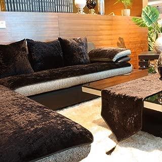 E-Solem Modern Velvet Sofa Cover, Chaise Couch Cover, L Shape Couch Slipcover, Backrest Cover, Armrest Cover, Recliner Slipcover, Armchair Cover, Multi Size (Black, 36