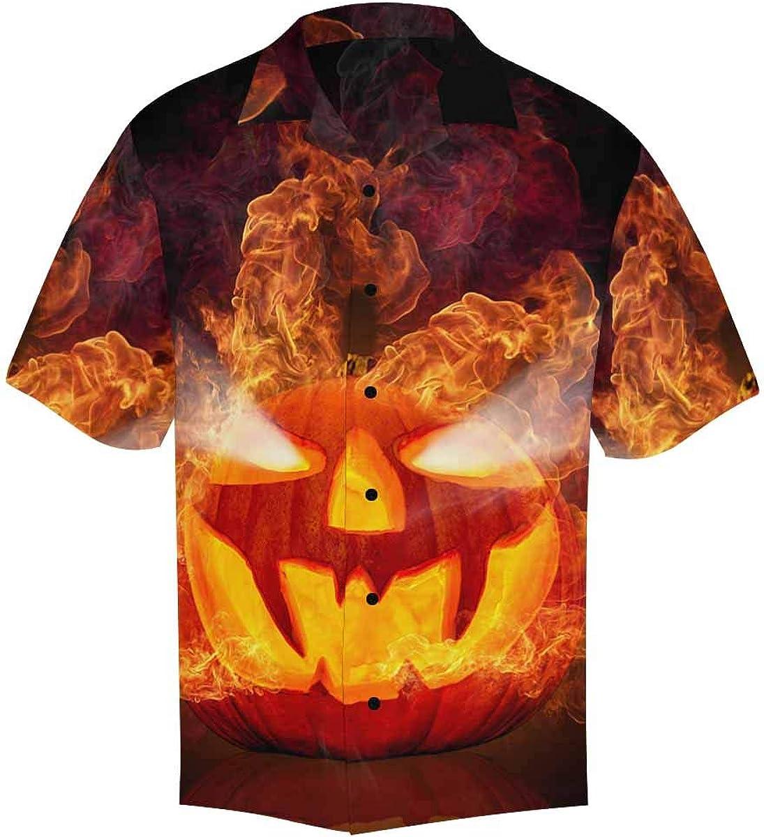 InterestPrint Men's Casual Button Down Short Sleeve Fire Pumpkin Hawaiian Shirt (S-5XL)