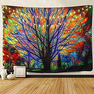 Tapiz de ensueño para pared Imagen de un árbol y un bosque psicodélico com pájaros Mandala bohemia Decoración perfecta para dormitorio o sala de estar 153x130cm