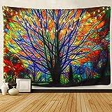 Amknn Bunter Baum Psychedelic Tapisserie Bohemian Mandala Hippie Tapisserie Bunt Baum Wandteppich für Psychedelic Forest Birds Wand Schlafzimmer Wohnzimmer Decor (153x130cm, Bunter Baum)