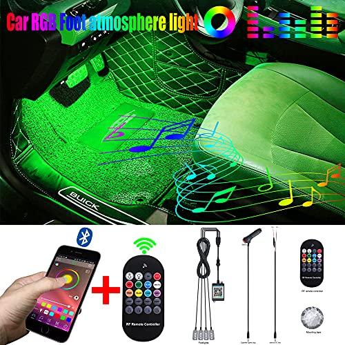 QAUBEN Iluminación Ambiental para automóvil con Control de aplicación Bluetooth + Control Remoto RF 64 Colores Música Multicolor Kit de iluminación Interior para los pies 12V