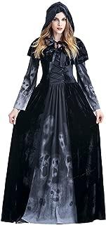 Halloween Cosplay Costume Women Vintage Dress Autumn Witch Long Sleeve Floor Length Dress
