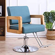 Lounge Chair Armchair Lifting Rotary Adjustable Hairdressing Chair Reclining Bar Cafe Chair,Cyan,Plated