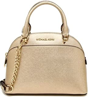 ff038a1a5a05 Michael Kors Emmy Large Dome Saffiano Leather Satchel Crossbody Bag Purse ( Pale Gold)