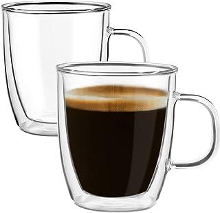 لیوان قهوه شیشه ای Yuncang 2 بسته ، لیوان لیوان شیشه ای عایق دو جداره ، لیوان کاپوچینو با برس تمیز کننده ، 12 اونس 350 میلی لیتر ، مناسب برای آمریکانو ، لاته ، نوشیدنی ، کاپوچینو ، فنجان اسپرسو ... (2)