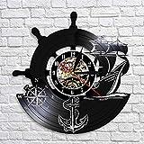 LIMN Ancla Barco Brújula Naval Marineros Reloj de Pared con Disco de Vinilo Regalos de navegación Hechos a Mano Decoración de Pared náutica Vintage
