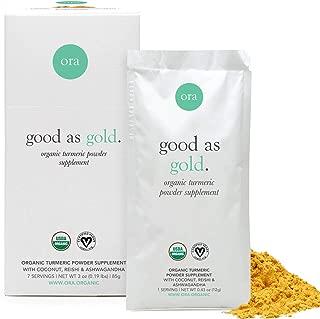 Ora Organic Golden Milk Turmeric Powder Supplement with Ashwagandha, Reishi and Ginger, Vegan, Non-GMO - 7 Sachets