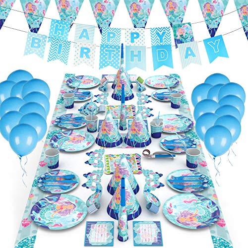 GUIFIER Mermaid Party Supplies - Juego completo de vajilla y decoración de lujo - Platos, tazas, utensilios, servilletas, mantel, globos, pancarta de cumpleaños, medusas, decoración para cupcakes