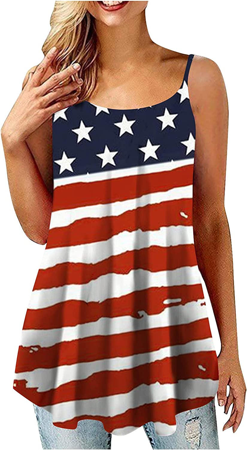 KEoans Summer T-Shirt Women's Vest Fashion Independence Day Printing Casual Loose Sleeveless Vest Top