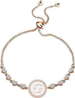 TGBJE Rose Gold Zodiac Sign Adjustable Bracelet Birthday Gift for Women Girls Zodiac Bracelet 12 Constellation Bracelet