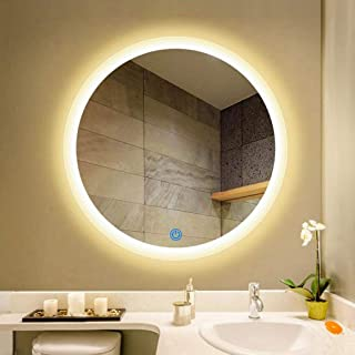 WYXIAN Illuminated Bathroom Mirror with LED Light and Demister Pad Touch Sensor Wall Mounted Round Makeup Shaving Mirror (Color : WARMLIGHT, Size : 80CM)