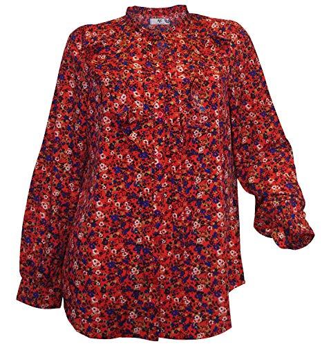 AJC Bluse Gr. 44 rot bunt Blumen-Bluse Rüschen Bindeband Langarm chic