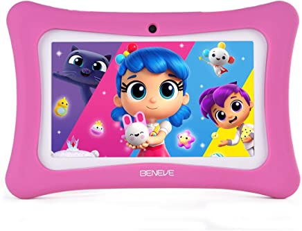 $59 Get Kids Tablet - 7 inch Kids Edition Tablet with IPS Safety Eye Protection Screen, Android 7.1 WiFi, Camera, Games, Google Play Store, Bluetooth, (A)
