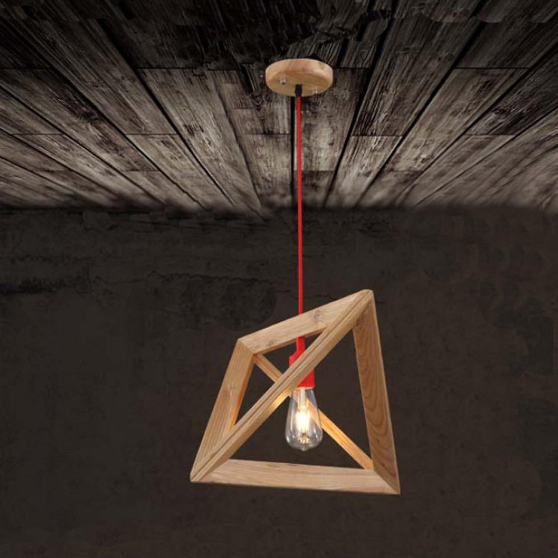 Nordic holz kronleuchter Arbeitszimmer wohnzimmer cafe kronleuchter Dreieck geometrische kronleuchter, Φ 37 cm H37cm E27 (nicht enthalten)