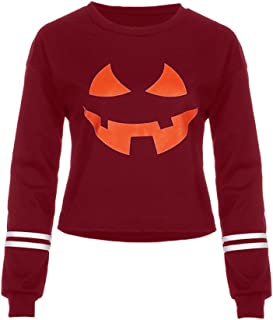 iLOOSKR Women Round Neck Halloween Pumpkin Face Printing Long Sleeve Casual Sweatshirt Tops