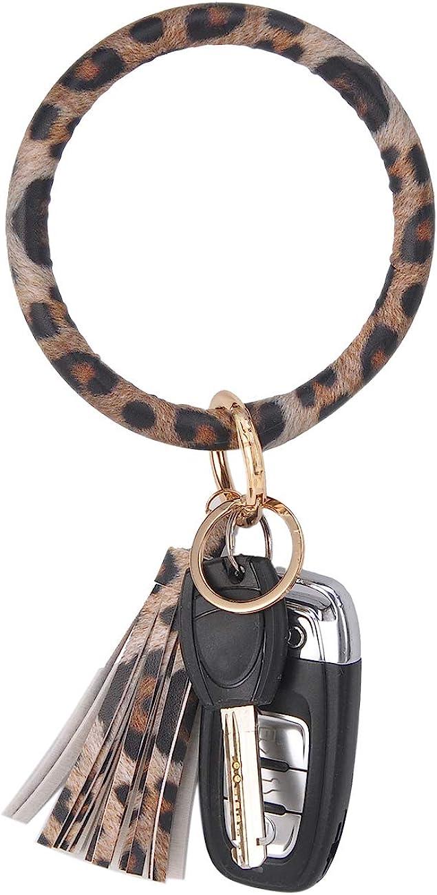 Coolcos Key Ring Bracelet Wristlet Keychain Bangle Keyring - Portable Leather Tassel Bracelet Keys Holder Women Gift
