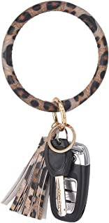 Coolcos Key Ring Bracelets Wristlet Keychain Bangle Keyring - Large Circle Leather Tassel Bracelet Holder For Women Gift