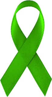 250 USA Made Lime Green Satin Awareness Ribbons - Bag of 250 Fabric Ribbons with Safety Pins (Many Colors Available) (Pin Attached)