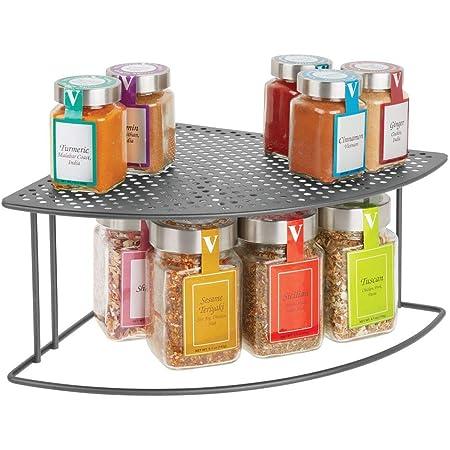 mDesign étagère cuisine – range vaisselle pour coins sur plans de travail et dans les armoires – rangement cuisine à deux étages pour optimiser l'espace dans la cuisine – gris