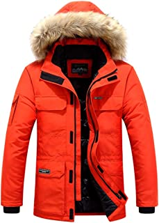 wuliLINL Mens Winter Jacket with Faux Fur Hood,Winter Warm Casual Slim Fit Thicked Cotton-Padded Coat Outwear