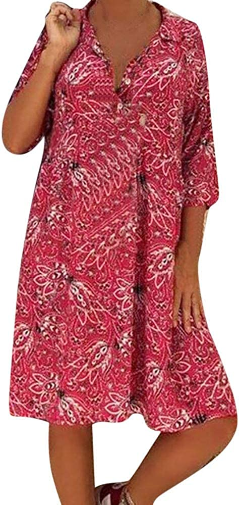 Clearance Womens Sexy Deep V-Neck Floral Ranking integrated 1st place Shirt Dresses New color Pl Print